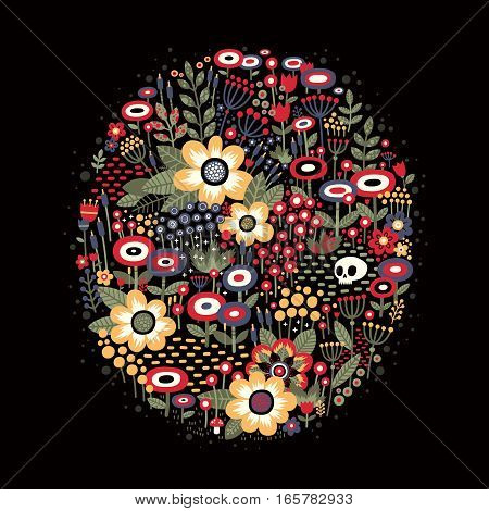 Illustration with beautiful flowers in oval shape on dark background. There is a skull lying among them. Metaphor of life and death.