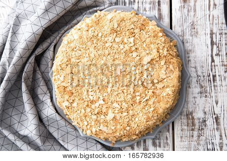 Homemade Cake Napoleon, Puff Pastry Custard Cream Pie