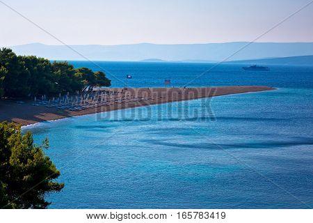 Famous Zlatni Rat Beach On Brac Island View
