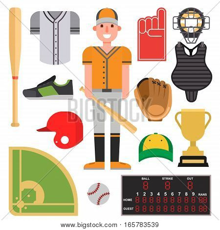 Cartoon baseball player icons batting vector design. American game athlete winner people. Champion league equipment competition man character and athletic sport patches.