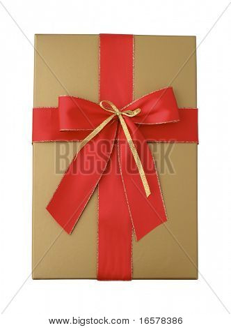 Gift package in gold with a red ribbon isolated on white