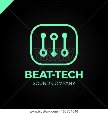 Abstract Beat Tech Equalizer Music Logo Box Design In Vector.