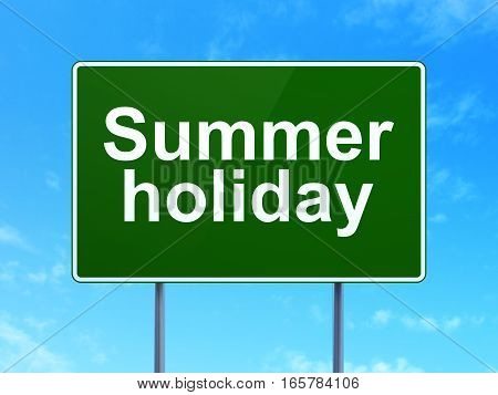 Vacation concept: Summer Holiday on green road highway sign, clear blue sky background, 3D rendering