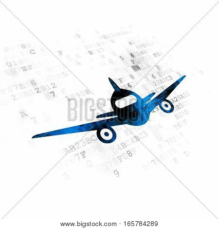 Travel concept: Pixelated blue Aircraft icon on Digital background