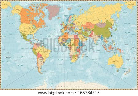 Large detailed vintage color political World Map with lakes and rivers. Highly detailed vector illustration of World Map.