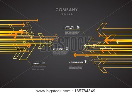 Company infographic overview design template with arrows and icons - dark version.