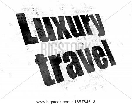 Vacation concept: Pixelated black text Luxury Travel on Digital background