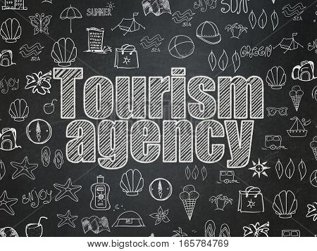 Vacation concept: Chalk White text Tourism Agency on School board background with  Hand Drawn Vacation Icons, School Board