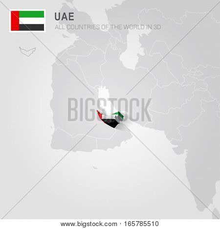 UAE painted with flag drawn on a gray map.