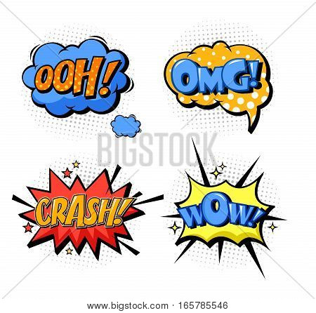 Cartoon comic speech replicas and exclamation. Onomatopoeia bubble speech like oh and crash, omg and wow for wonder and confusion, surprise and wonder, pleasure emotion. Message and sound icons