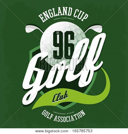 Golf ball for english club logo, sport banner. T-shirt print design and clothing advertising, sportsman wear and athletic game with clubs badge. Golfer association or british federation banner