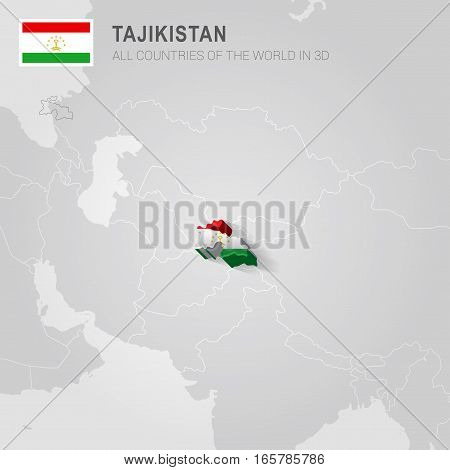 Tajikistan painted with flag drawn on a gray map.
