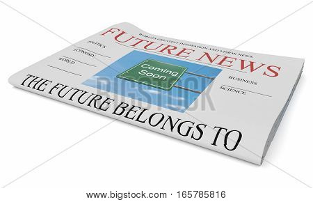 Future News Business Concept: Newspaper 3d illustration on white background