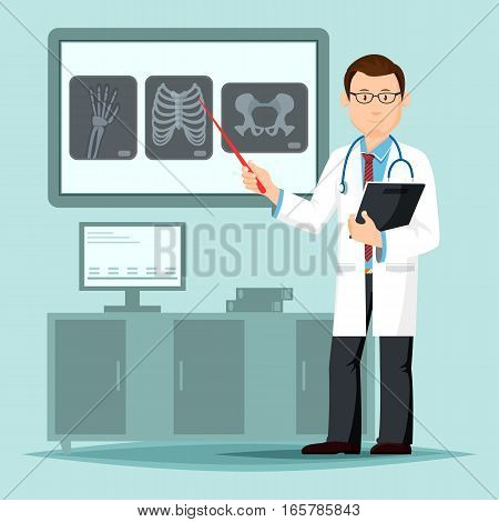 Doctor near x-ray film pointing at broken bones. Radiography of human or patient skeleton, male medic or physician with stethoscope at diagnostic work for hand, chest and hip. Medicine, anatomy theme