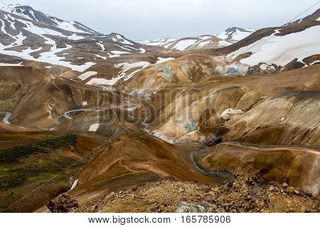 geothermal area in valley of hot springs and snow at Kerlingarfjoll on Iceland