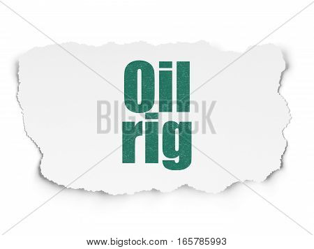 Industry concept: Painted green text Oil Rig on Torn Paper background with  Tag Cloud