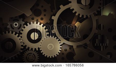 Vector Illustration Gears Inside Machine, Eps10, Transparency and Gradient Mesh Used