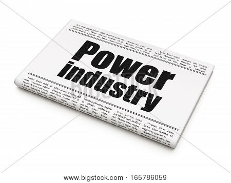 Manufacuring concept: newspaper headline Power Industry on White background, 3D rendering