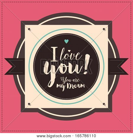 Valentines Day Typographic Poster With Pink Background. Useful For Invitations, Brochures And Valent