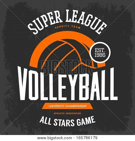 Volleyball ball for sportswear gear. Hand sport advertising or clothing branding, university or college tournament emblem. Man and woman sport club or center badge, athletic team t-shirt design