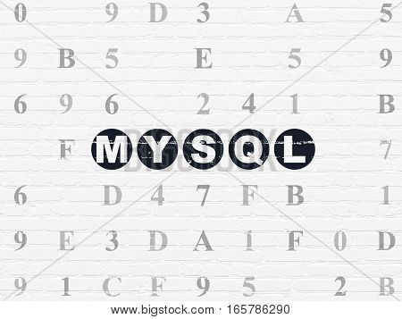 Programming concept: Painted black text MySQL on White Brick wall background with Hexadecimal Code