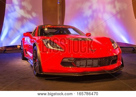 DETROIT MI/USA - JANUARY 8 2017: A Lingenfelter Chevrolet Corvette car at The Gallery an event sponsored by the North American International Auto Show (NAIAS) and the MGM Grand Detroit.