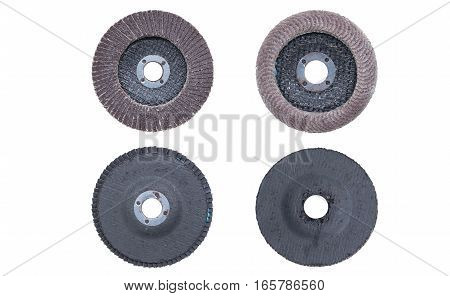 brown abrasive wheels isolated on a white background