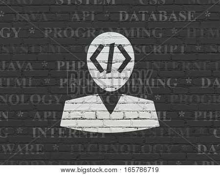 Software concept: Painted white Programmer icon on Black Brick wall background with  Tag Cloud