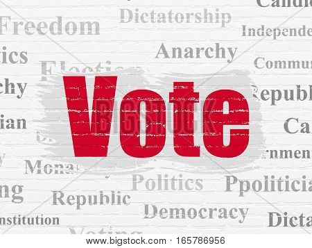 Political concept: Painted red text Vote on White Brick wall background with  Tag Cloud