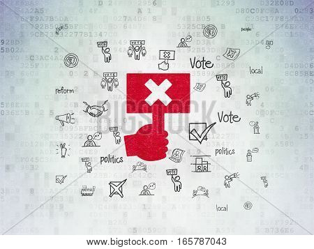 Politics concept: Painted red Protest icon on Digital Data Paper background with  Hand Drawn Politics Icons