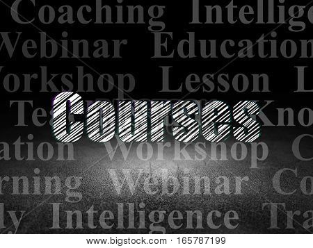 Learning concept: Glowing text Courses in grunge dark room with Dirty Floor, black background with  Tag Cloud