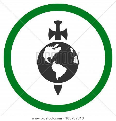 Earth Guard vector bicolor rounded icon. Image style is a flat icon symbol inside a circle, green and gray colors, white background.