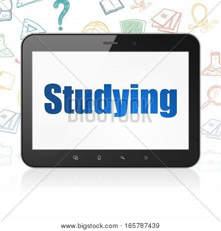 Education concept: Tablet Computer with  blue text Studying on display,  Hand Drawn Education Icons background, 3D rendering