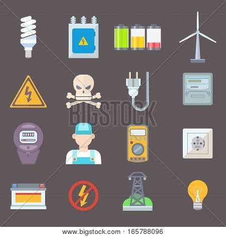 Energy and resource icon set. Vector illustration electricity industrial meter technology turbine. Electrical wire socket voltage nuclear battery.