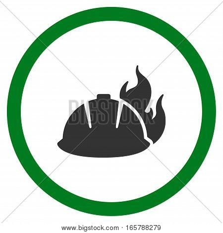 Fire Helmet vector bicolor rounded icon. Image style is a flat icon symbol inside a circle, green and gray colors, white background.
