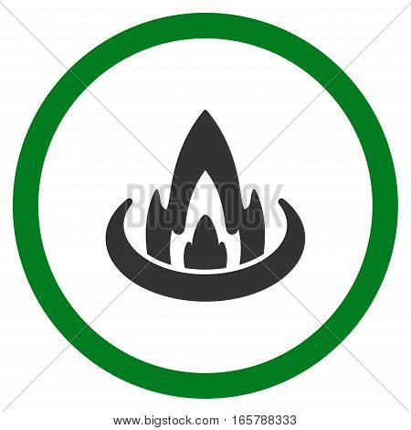 Fire Location vector bicolor rounded icon. Image style is a flat icon symbol inside a circle, green and gray colors, white background.
