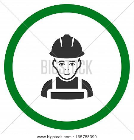Glad Worker vector bicolor rounded icon. Image style is a flat icon symbol inside a circle, green and gray colors, white background.