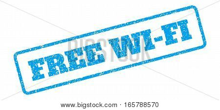 Blue rubber seal stamp with Free Wi-Fi text. Vector tag inside rounded rectangular shape. Grunge design and scratched texture for watermark labels. Inclined emblem on a white background.