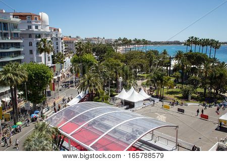 Cannes France - May 20th 2016: Aerial image of the main entrance of the Palais des Festivals during the Festival de Cannes in Cannes France.