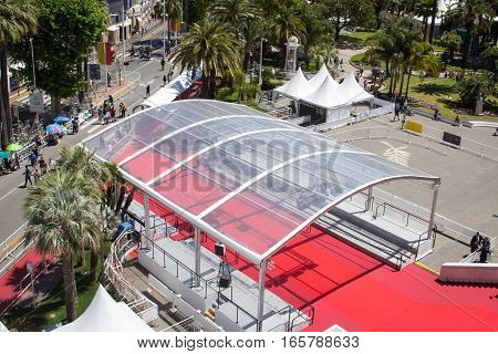 Cannes France - May 20th 2016: Aerial image of the red carpet at the main entrance of the Palais des Festivals during the Festival de Cannes in Cannes France.
