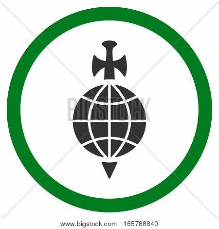 Global Guard vector bicolor rounded icon. Image style is a flat icon symbol inside a circle, green and gray colors, white background.