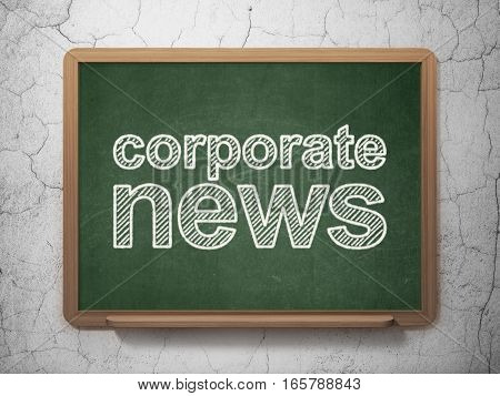 News concept: text Corporate News on Green chalkboard on grunge wall background, 3D rendering