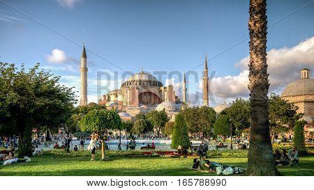 Istanbul, Turkey - June 23, 2015: View of Hagia Sophia (Ayasofya), historic centre of Istanbul UNESCO World Heritage List, 1985, Turkey, 6th century.