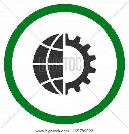 Global Industry vector bicolor rounded icon. Image style is a flat icon symbol inside a circle, green and gray colors, white background.