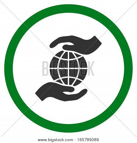 Global Insurance vector bicolor rounded icon. Image style is a flat icon symbol inside a circle, green and gray colors, white background.