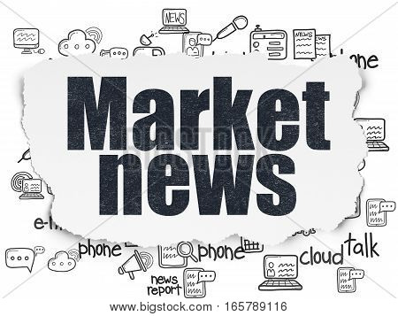 News concept: Painted black text Market News on Torn Paper background with  Hand Drawn News Icons