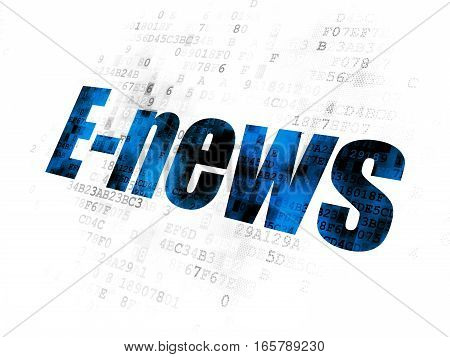 News concept: Pixelated blue text E-news on Digital background