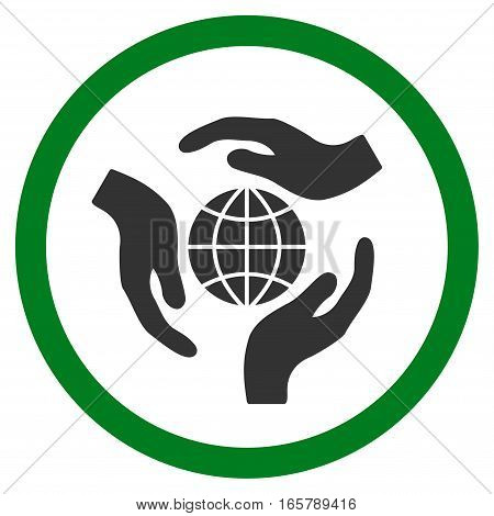 Global Protection vector bicolor rounded icon. Image style is a flat icon symbol inside a circle, green and gray colors, white background.