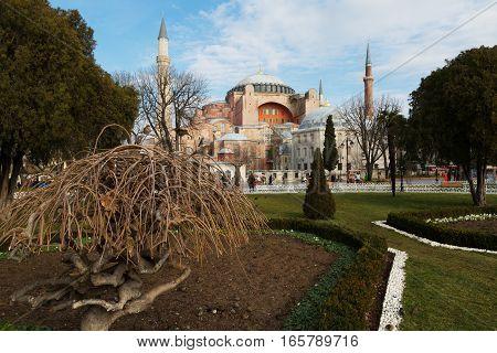 Hagia Sophia (Ayasofya) museum view from the Sultan Ahmet Park in Istanbul Turkey