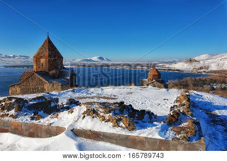 Sevan temple complex on the peninsula of the Lake Sevan Armenia.